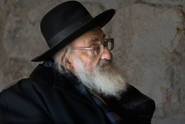 portrait of a religious man in Jerusalem in the tunnels by the Western Wall