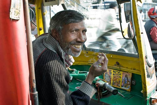 A View Of The Cab In An Auto-Rickshaw
