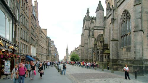 Looking Down The High Street In Edinburgh
