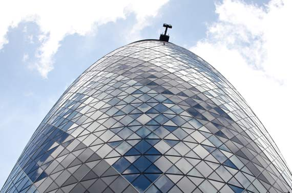 The Top Of The Gherkin Building At 30 St. Mary Axe