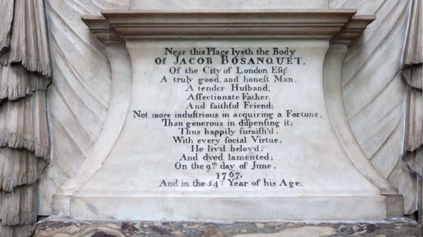 photo of memorial plaque in Bath Abbey in memory of Jacob Bosanquet