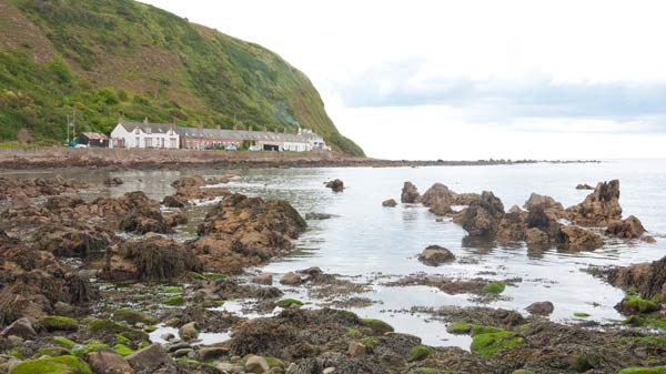 photo of the shore at Burnmouth in Scotland with cottages behind