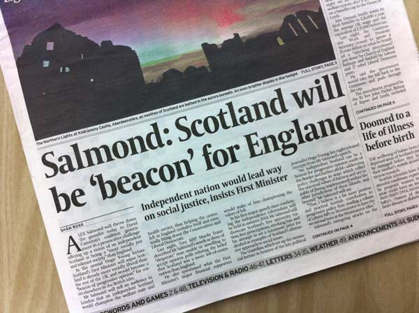 Newspaper headline Scotland Will Be A Beacon For England