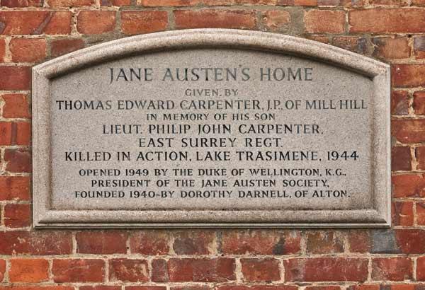 jane asuten chawton plaque on wall