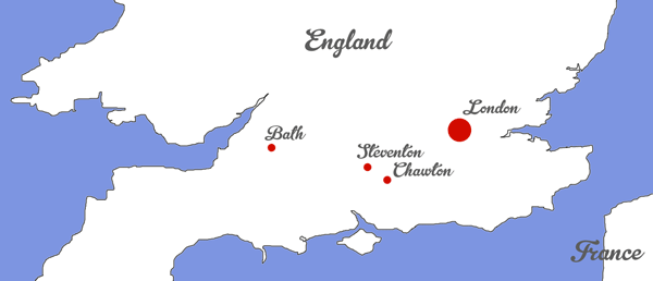 Map Showing Steventon, Bath, and Chawton Where Jane Austen Lived