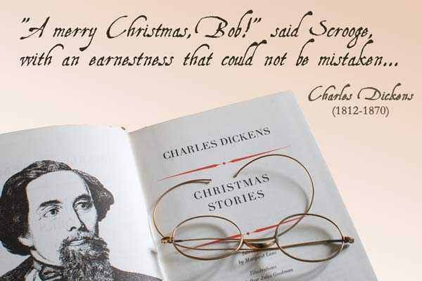 Charles Dickens Scrooge Quote From A Christmas Carol With Book And  Spectacles