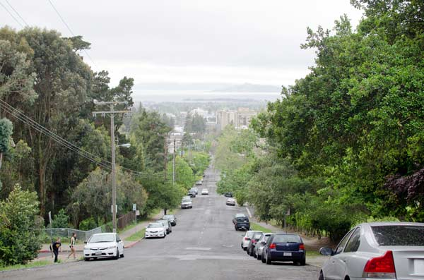 Looking down the road in Berkeley