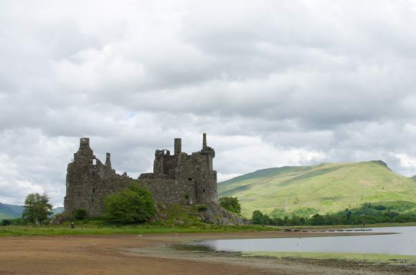 Kilchurn Castle Against A Backdrop Of Hills