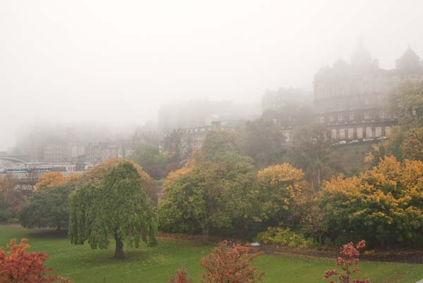 High Street Edinburgh Shrouded In Haar - Looking From Princes Gardens
