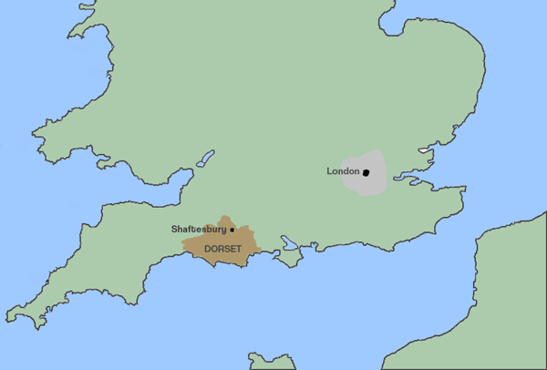 map of Shaftesbury in the county of Dorset