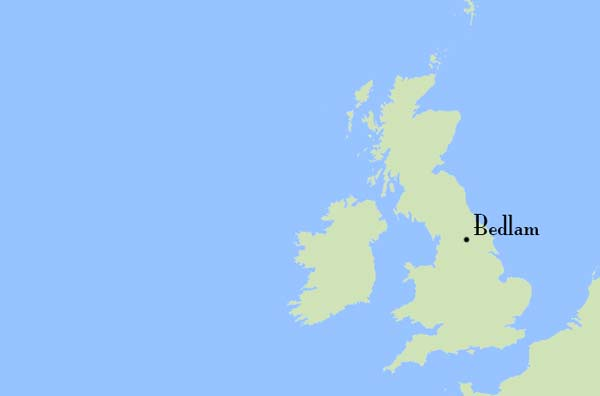 The location of the village of Bedlam in North Yorkshire, England