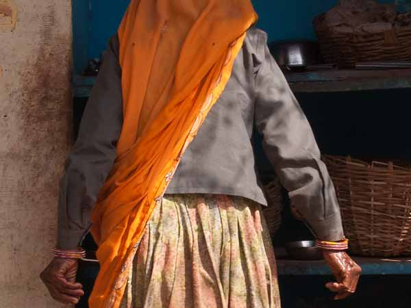 Close up of woman in Bundi in Rajasthan, India