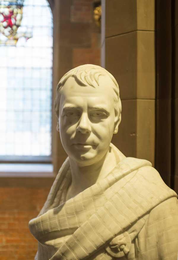bust of sir walter scott in the national portrait gallery in edinburgh