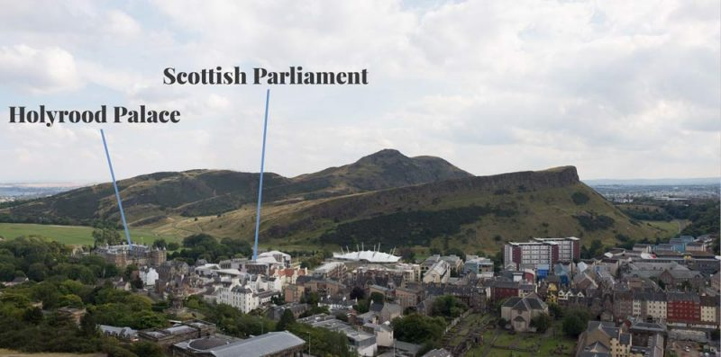 Arthurs-Seat-Holyrood-and-Scottish-Parliament-from-Nelson-Monument