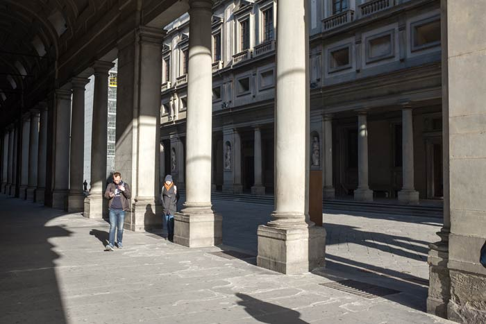 Columns in the quadrangle of The Uffizi Gallery in Florence
