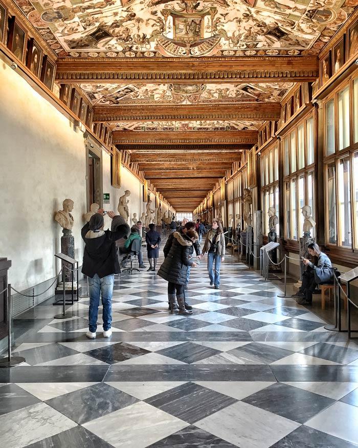 corridor in the Uffizi Gallery in Florence
