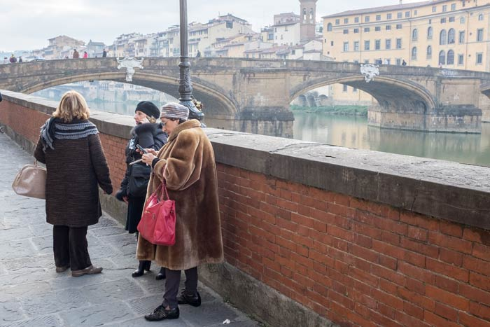 woman in Florence wearing a fur coat
