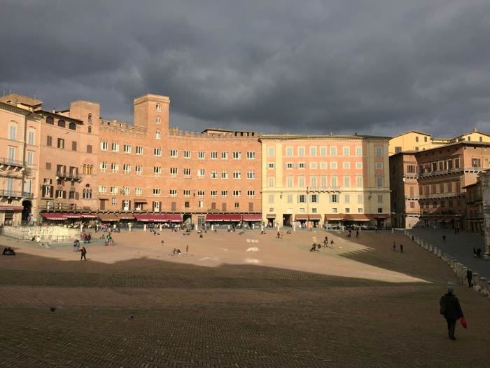 threatening skies above the Piazza del Campo in Siena