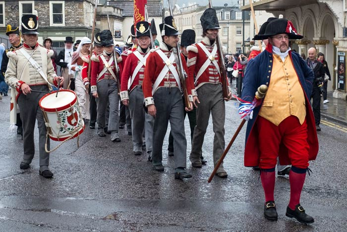 Soldiers in period costume during the Regency procession in Bath September 2016 with close up of drummer