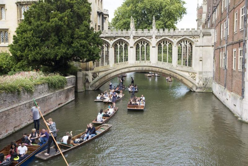 Punts on the river Cam with the Bridge of Sighs, Cambridge
