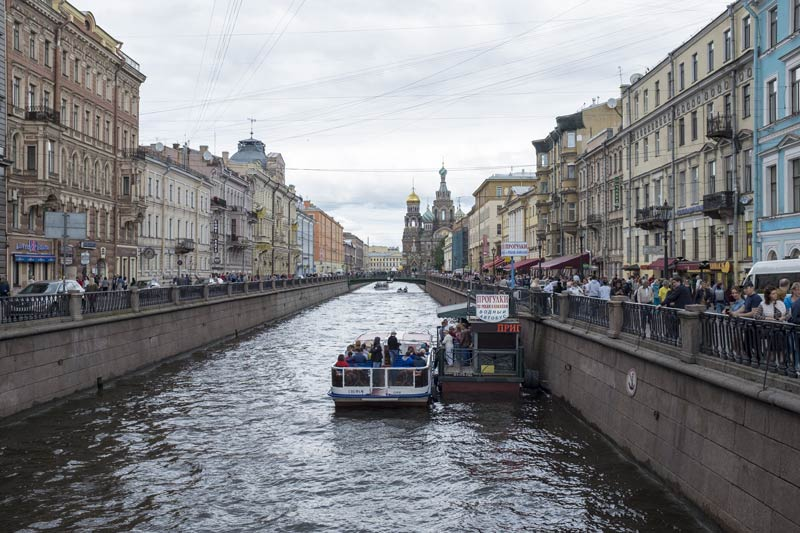 View from Nevsky Prospect to the Church of the spilled blood at the far end of the canal in Saint Petersburg