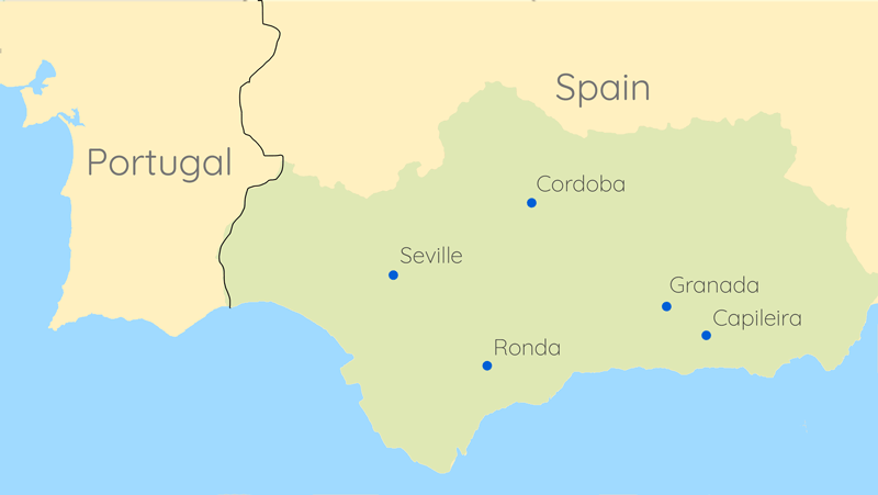 the route of our travels in Andalusia, Spain