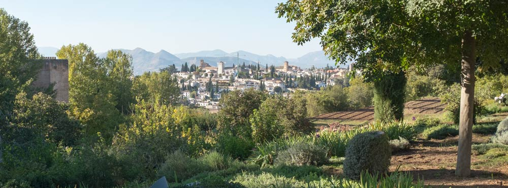 A view of Granada from the Alhambra with the Sierra Nevada in the background