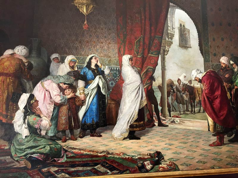 Painting in the museum in Granada depicting the Nasrid queen leaving the palace after the defeat by Catholic Spain.