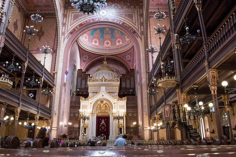 the interior of the Dohány Street synagogue in Budapest
