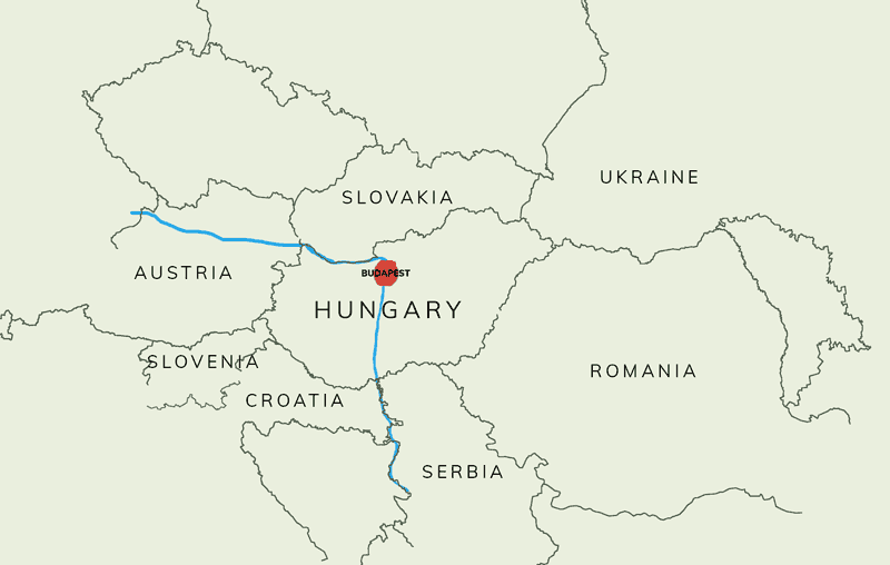 map of Hungary showing surrounding countries, and the position of the capital Budapest just south of a bend in the River Danube
