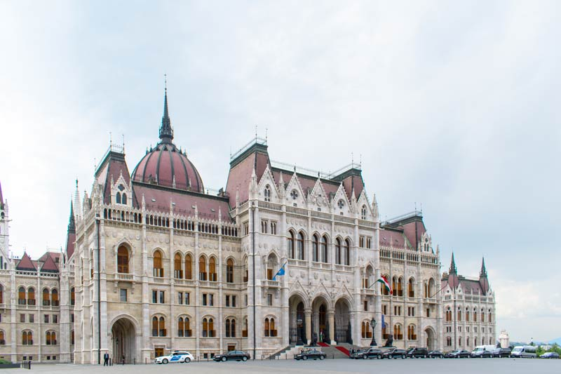 rear of parliament building in Budapest