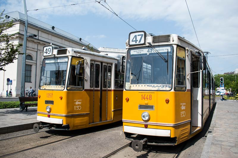 two trams in Budapest