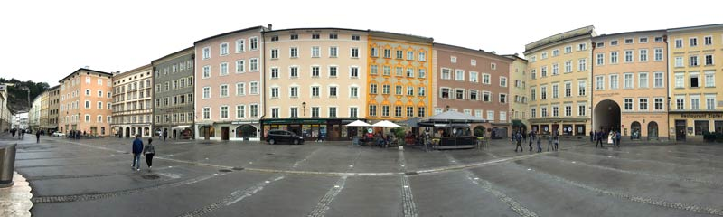 View from the college church in Salzburg towards the back of the house in which Mozart was born at Getreidegasse 9,